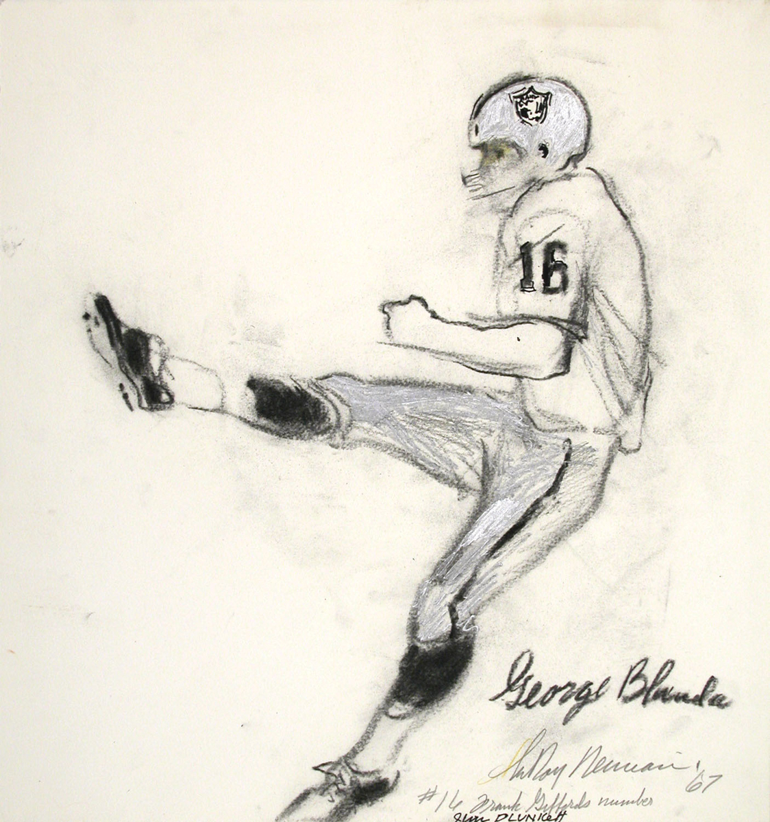 George Blanda, Mixed Media on Paper, 15.5 X 14.75 in, 1967