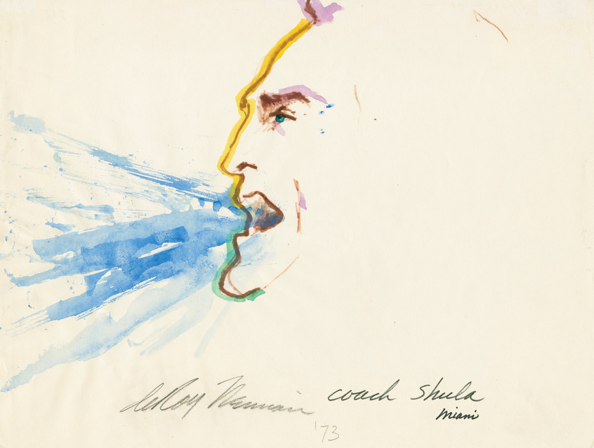 Coach Shula, Mixed Media on Paper, 10.5 X 14 in, 1973