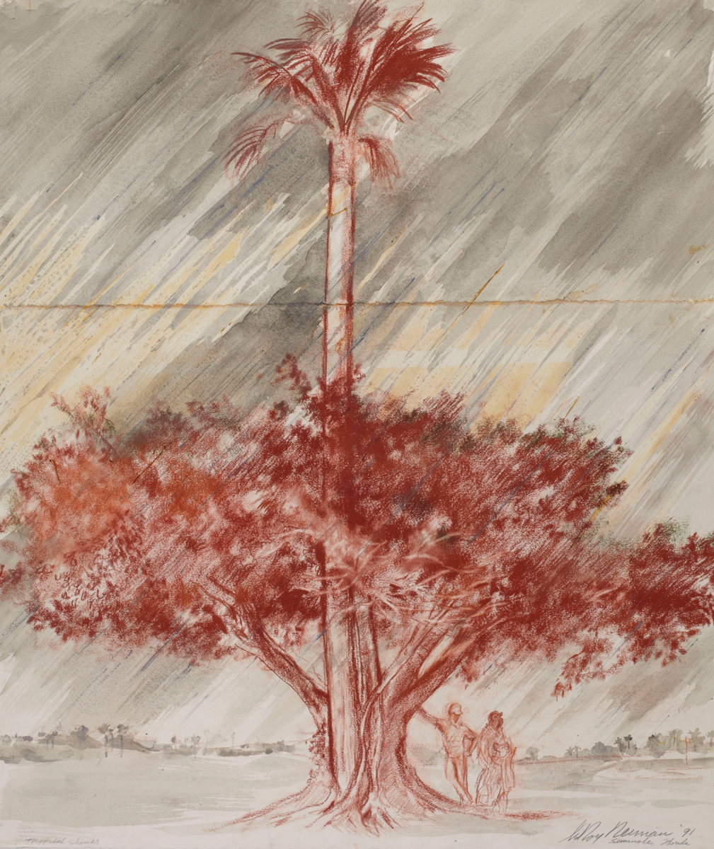 Tropical Shower at the Seminole Florida Golf Course, Mixed Media on Paper,  35.5 X 29.75 in, 1991