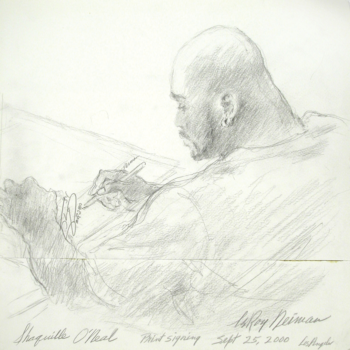 Shaquille O'Neal Print Signing, Pencil on Paper, 14.5 x 15 in, 2000