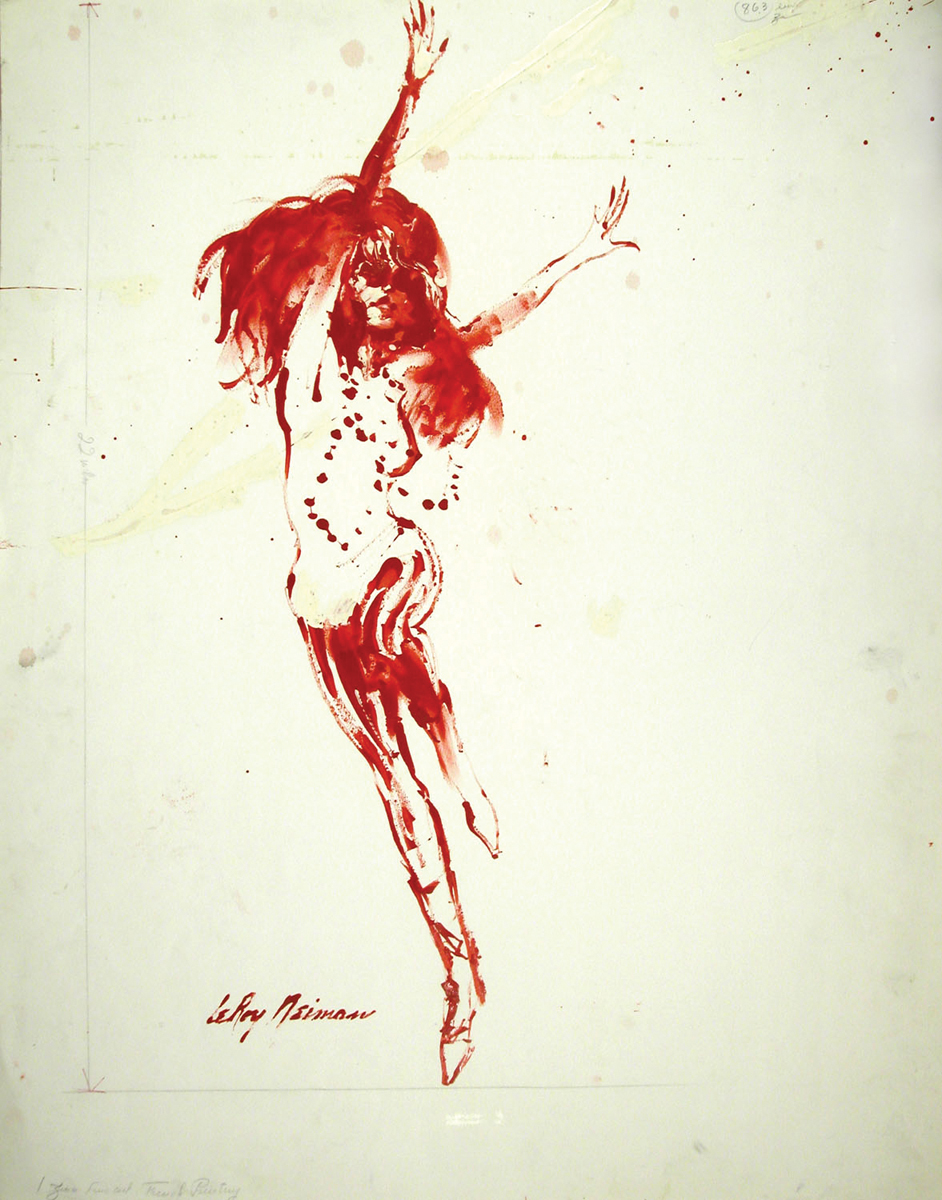 Red Dancer, Mixed Media on Paper, 28.5 X 22.5 in