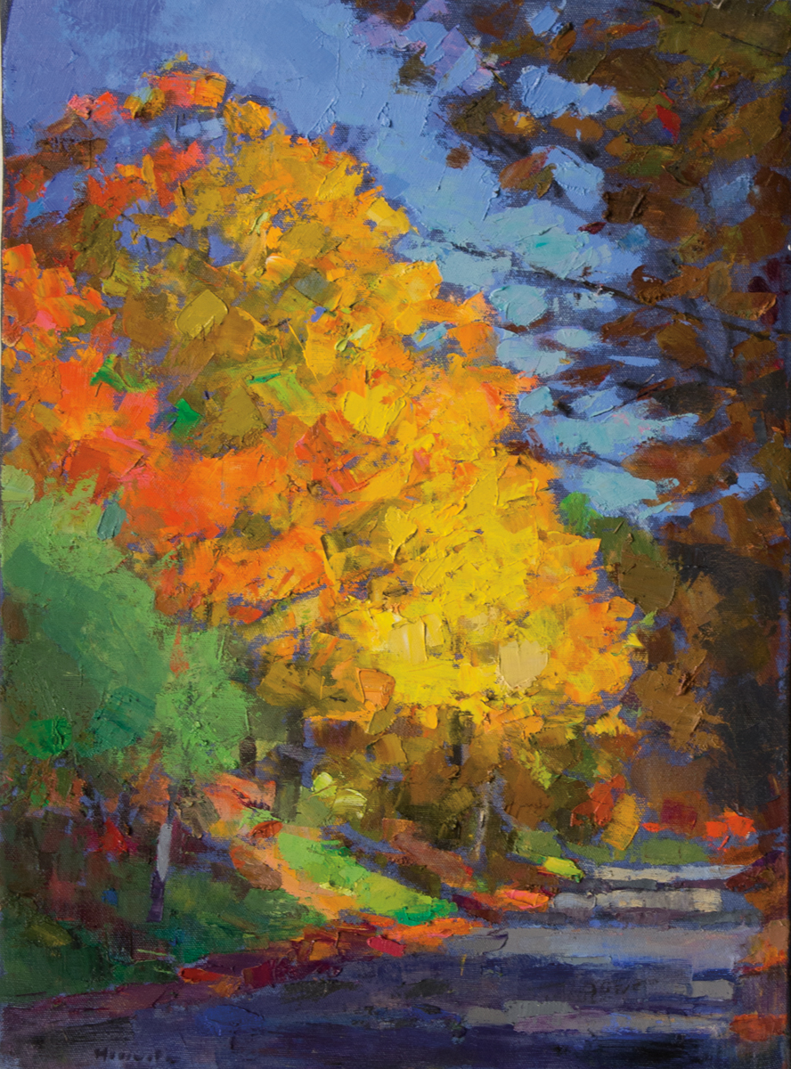 LARRY HOROWITZ, Fall Shadows, Vermont 2016, oil on canvas, 30 x 22 in, 2016