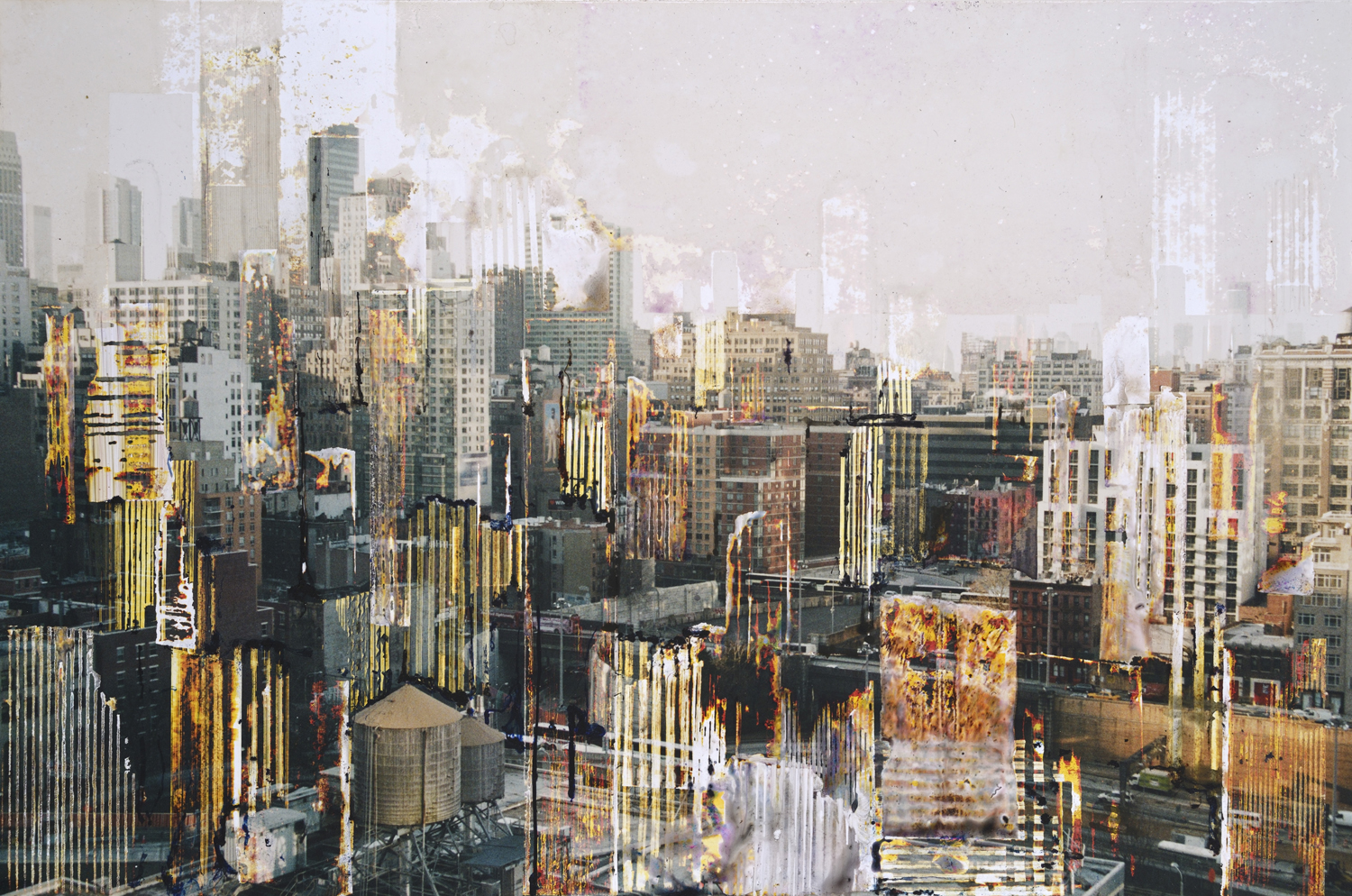 GOTTFRIED SALZMANN, Manhattan to south, mixed media on photograph on wood, 19.5 x 29 in, 2017