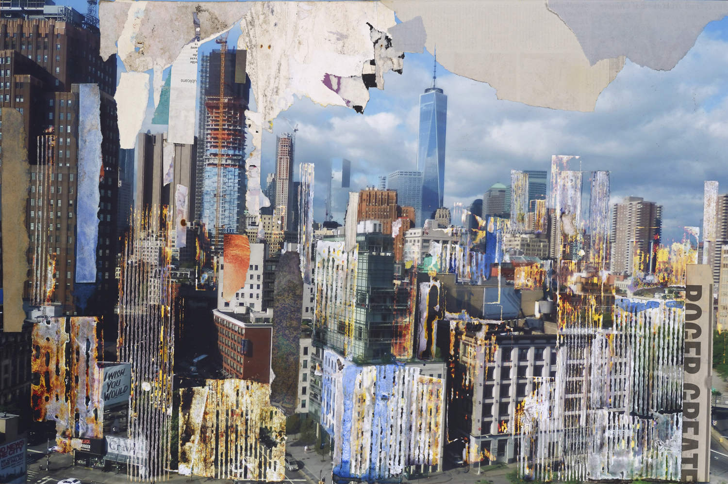 GOTTFRIED SALZMANN, WTC,mixed media on photograph and collage on wood, 19.5 x 29 in, 2017
