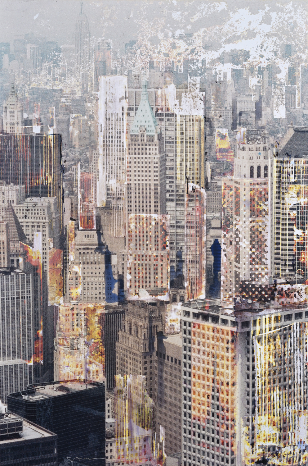 GOTTFRIED SALZMANN, NY Midtown, mixed media on photograph and wood, 29 x 19.5 in, 2017