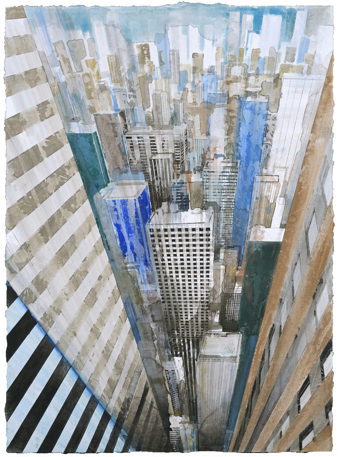 GOTTFRIED SALZMANN, NY Perspective, watercolor, 28 x 21 in, 2017