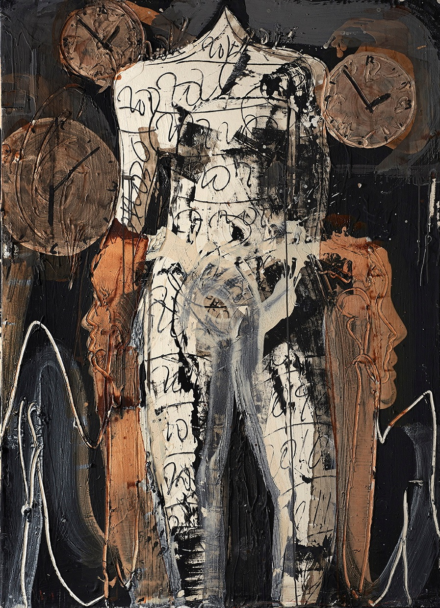AGUSTI PUIG, Three figures, three times, mixed media on canvas, 67 x 48 in, 2016