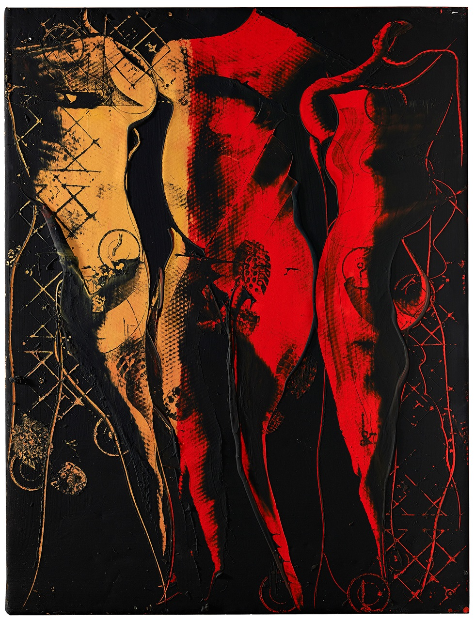 SOLD AGUSTI PUIG, Three figures under red radiance, mixed media on canvas, 62 x 48 in, 2017