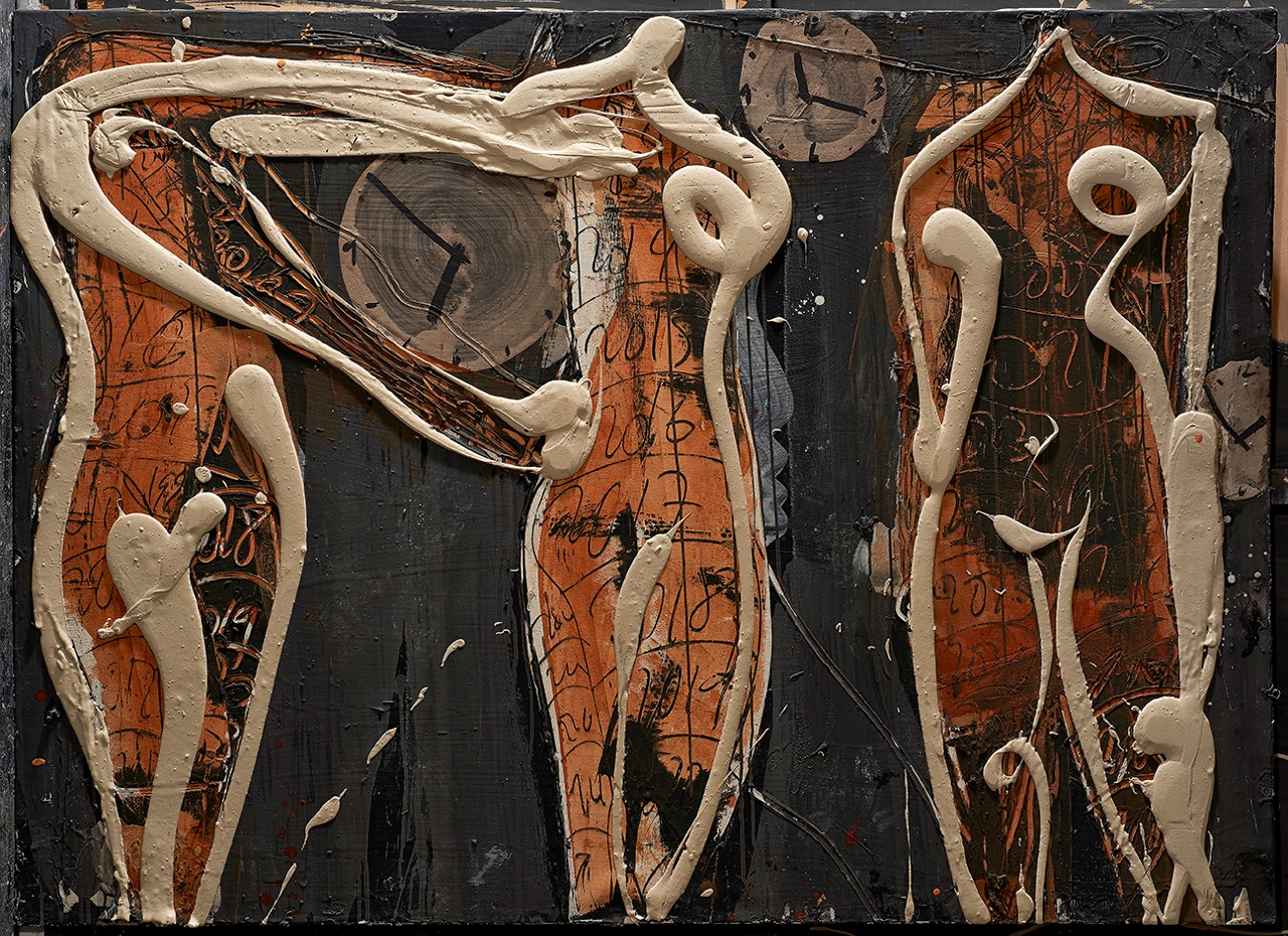 AGUSTI PUIG, Arms and clock catching figures, mixed media on canvas, 48 x 66 in, 2016