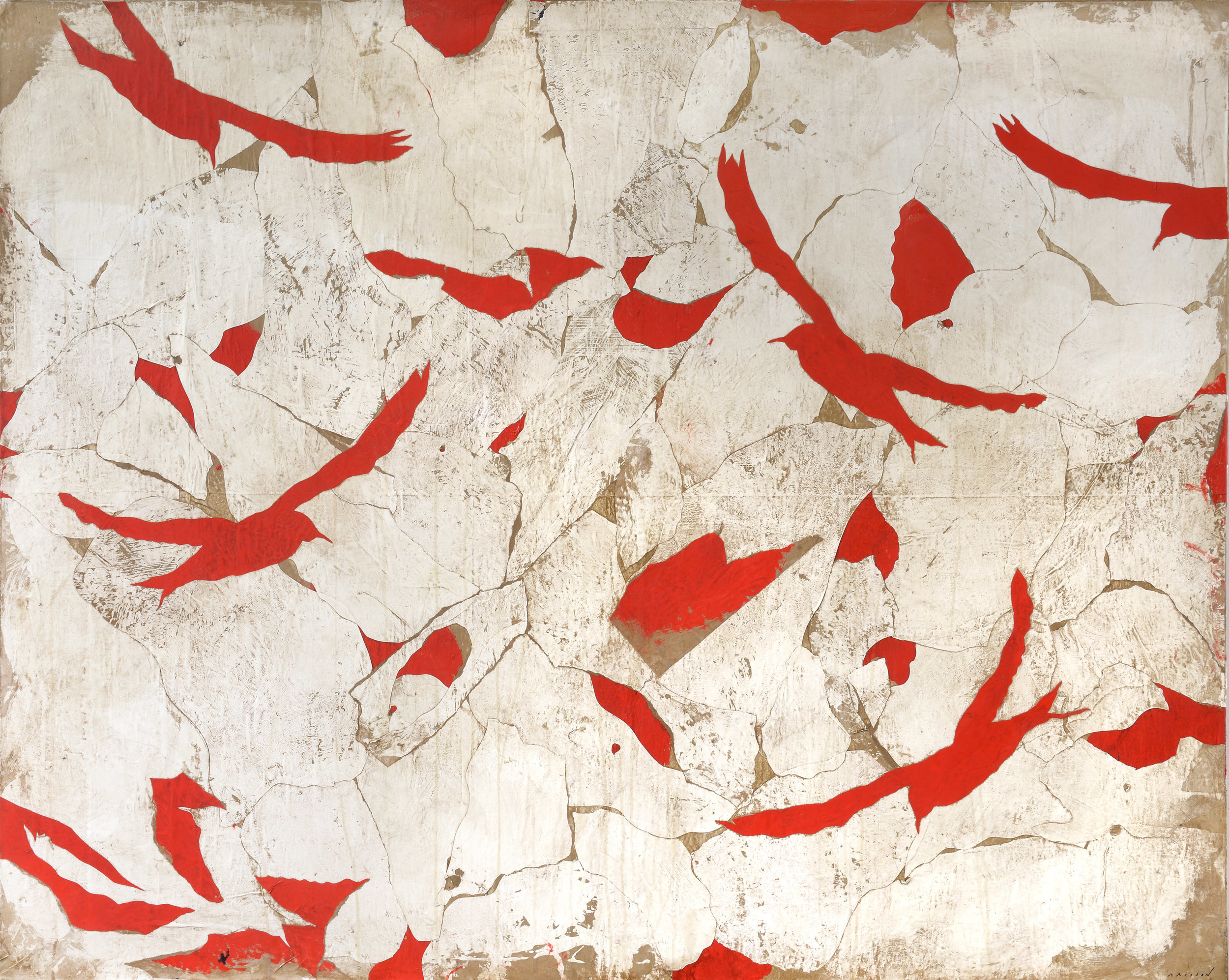 PIERRE MARIE BRISSON, Comme des oiseaux, mixed media on canvas, 51 x 64 in, 2017