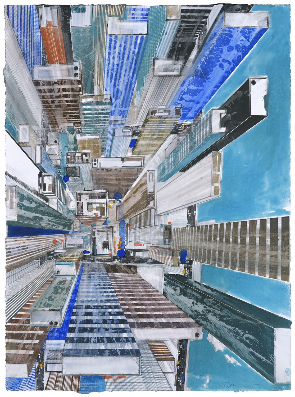 GOTTFRIED SALZMANN, Waterfront, watercolor, 28 x 21 in, 2017