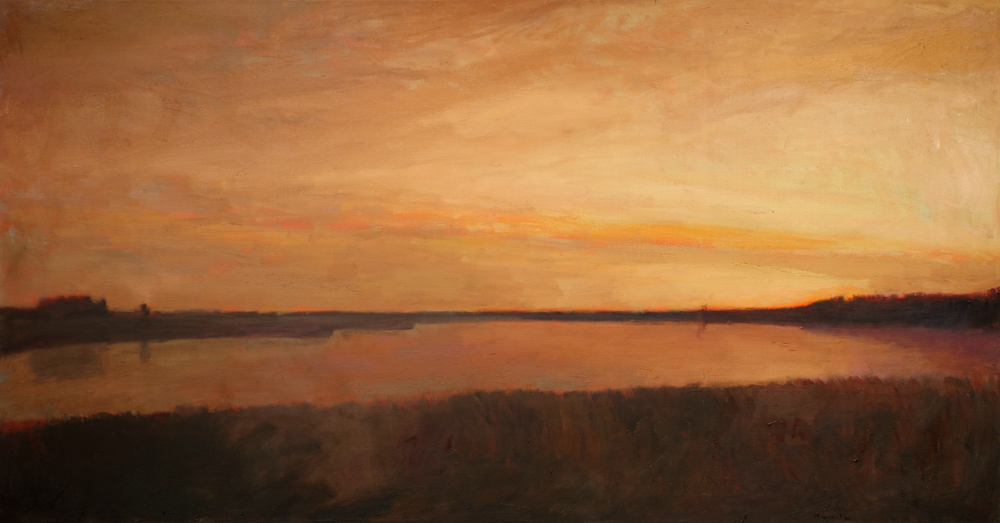 Marsh panorama, oil on canvas, 36 x 68 in, 2017