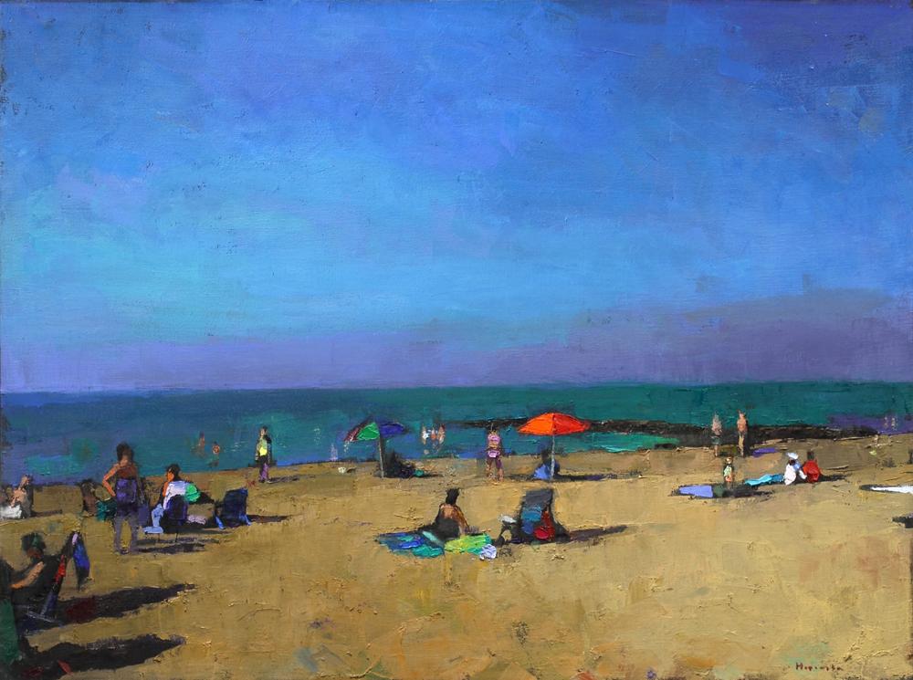 Sunny Beach Day, oil on canvas, 30 x 40 in., 2017