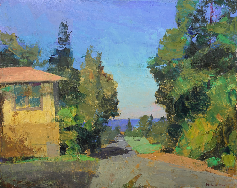 Villa by the sea, oil on canvas, 22 x 30 in, 2017