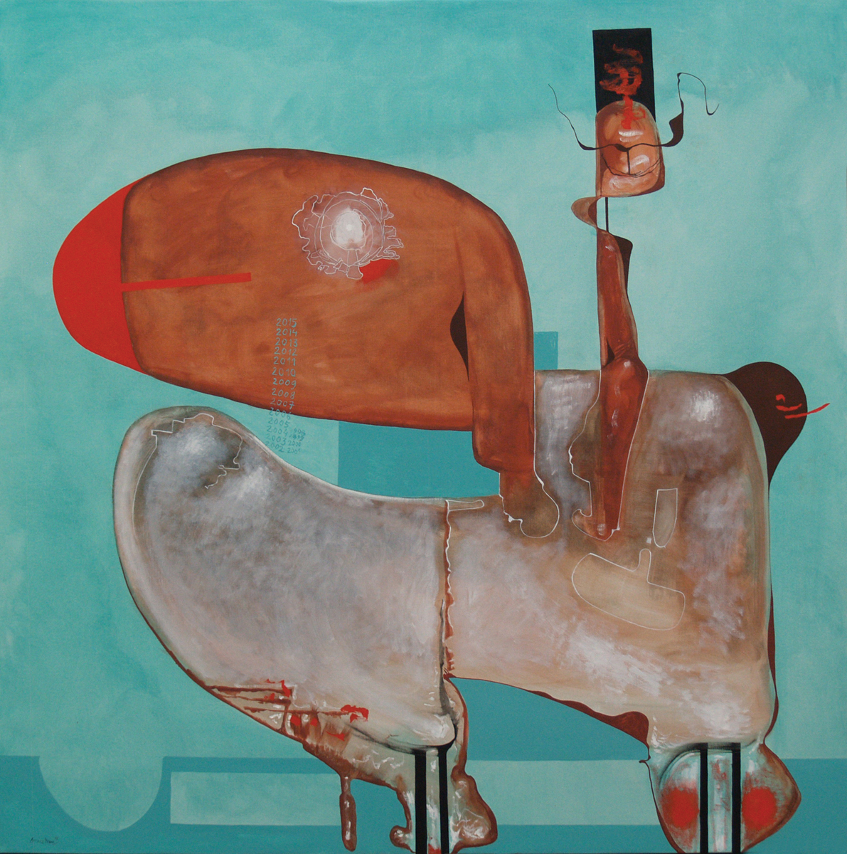Arre tatano IV, oil on canvas, 78 x 78 in, 2015
