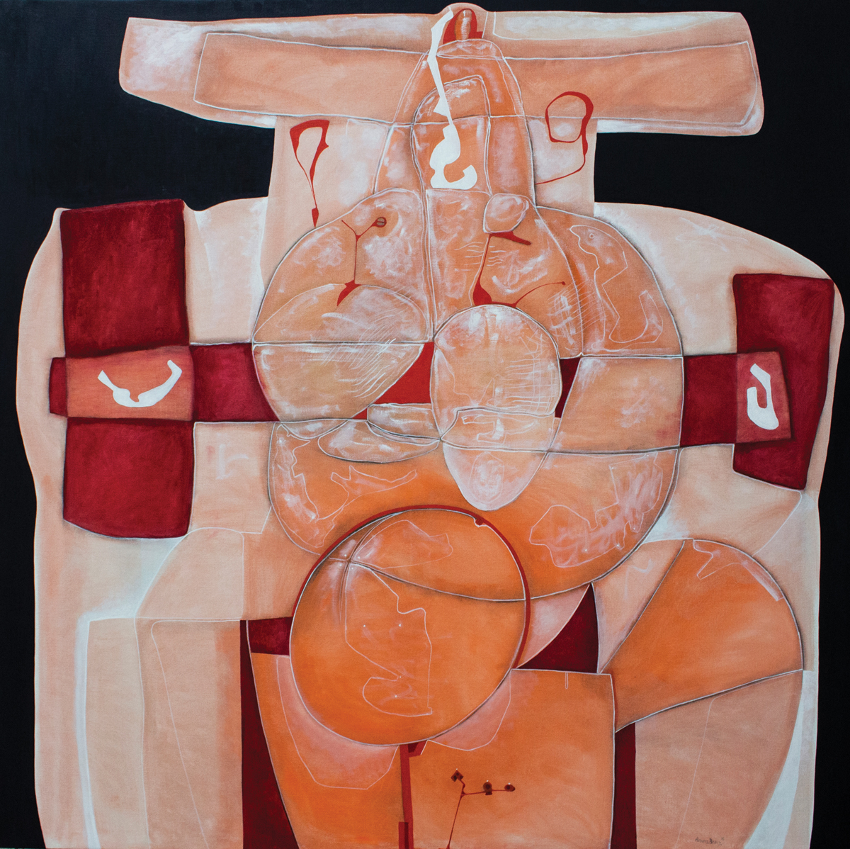 Educhka granate, oil on canvas, 78	x 78 in, 2016