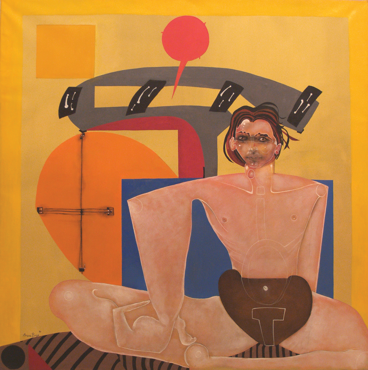 Travis Bombardo, matinal, oil on canvas,  51	x 51 in, 1996