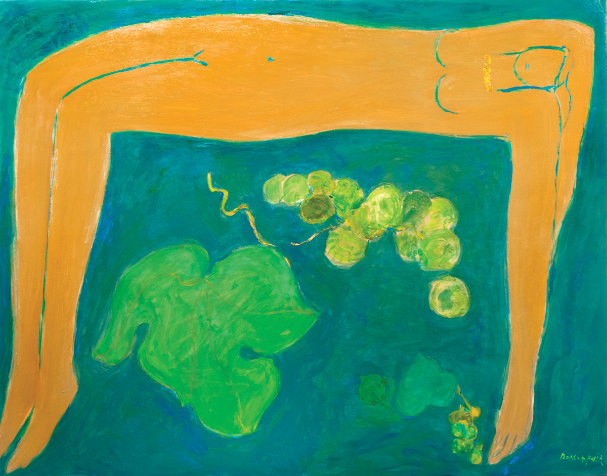 Naked at the cluster, Oil on paper on canvas, 44 x 57 in.