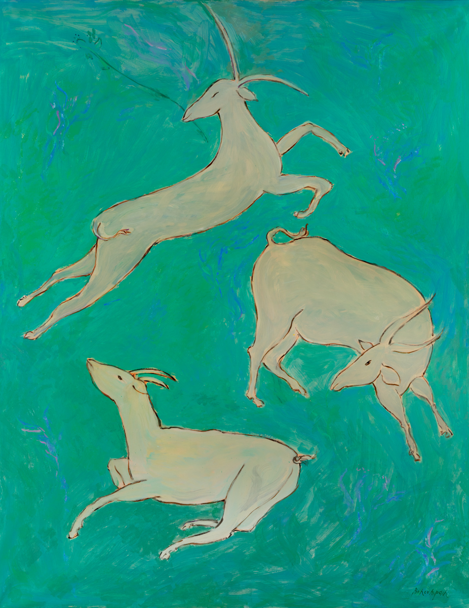 The flock of goats undulate on the slope of the Galaad, Oil on paper on canvas, 57.5 x 45 in