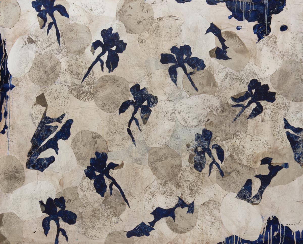 Fleurs bleues, Mixed media on canvas, 51 x 64, 2017