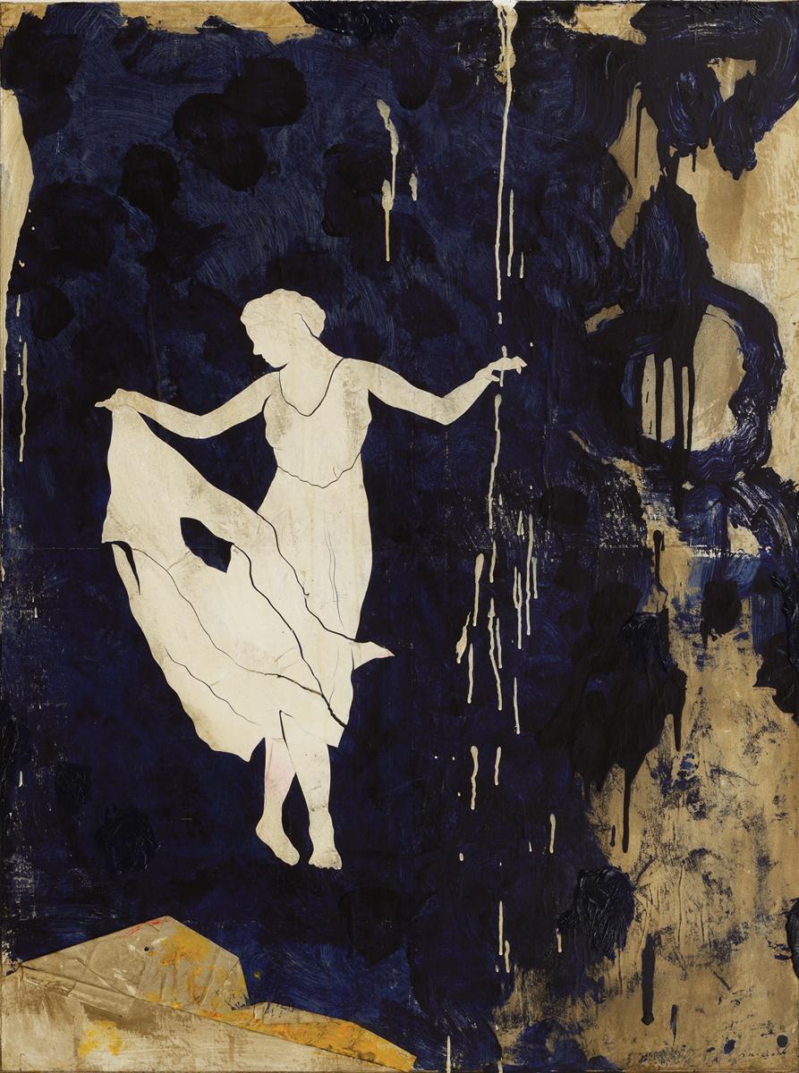 La dame avec le bleu derriere elle, Mixed media on canvas, 51 x 38 inches,2015