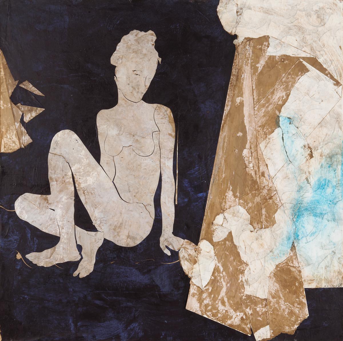 La dame d'à côté, Mixed media on canvas, 39 x 39 inches, 2017