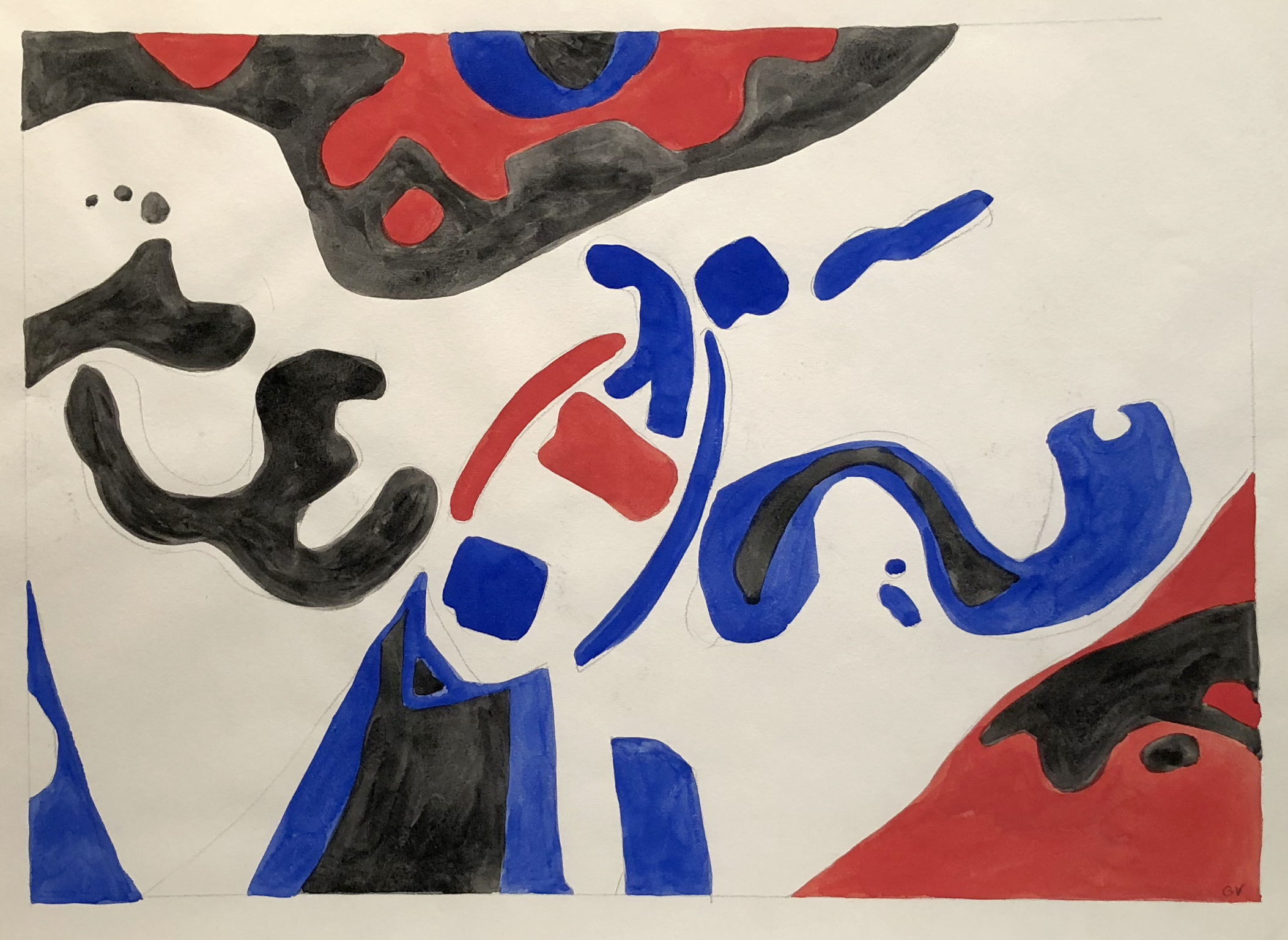 Dory – Red, White, Blue, Watercolor on Paper, 19 x 24 inches, 1964