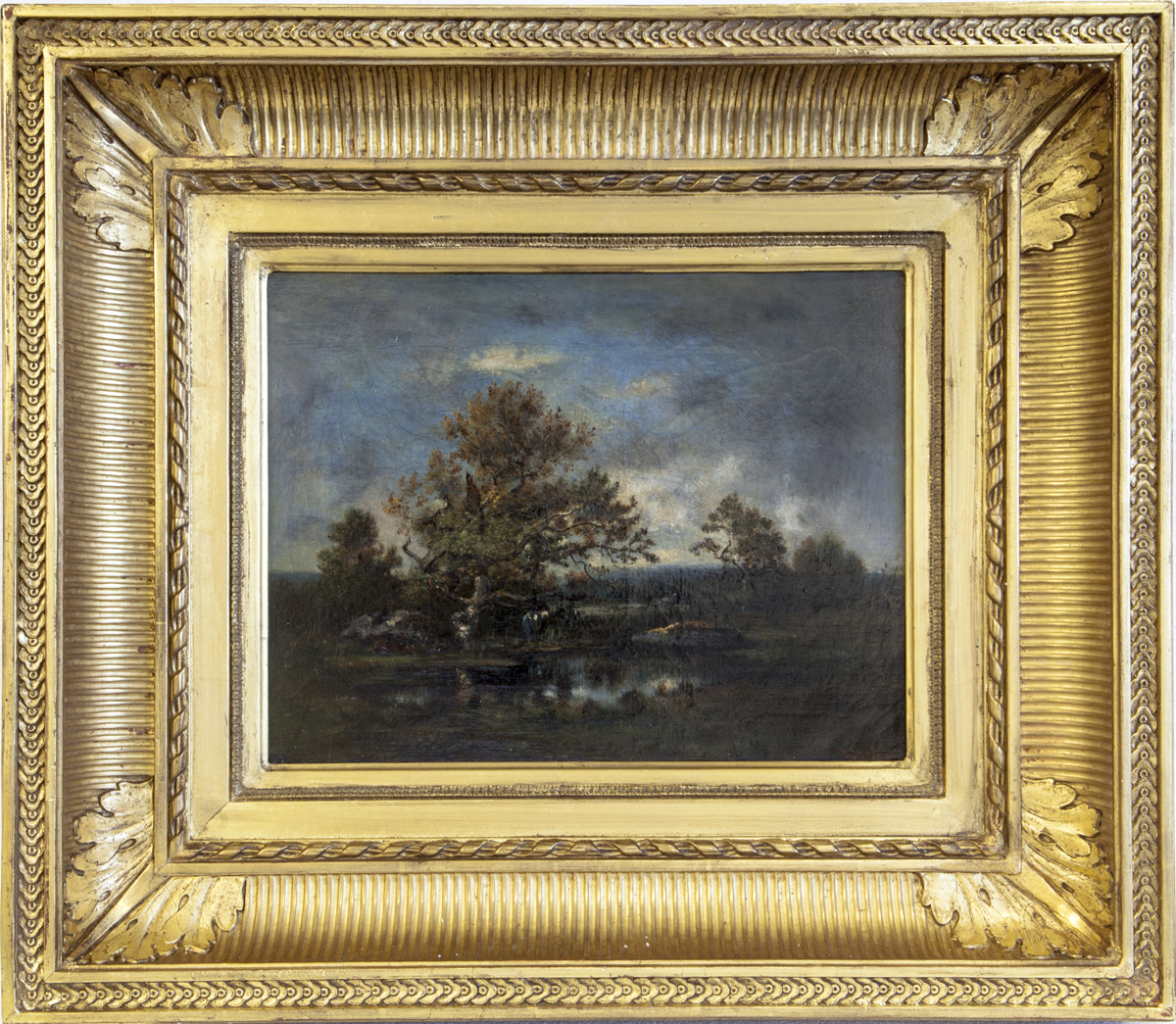 LOT 156 Narcisse Diaz de la Peña, La mare dans la clairière, Original Oil on canvas, 10.7 x 14.6 in.