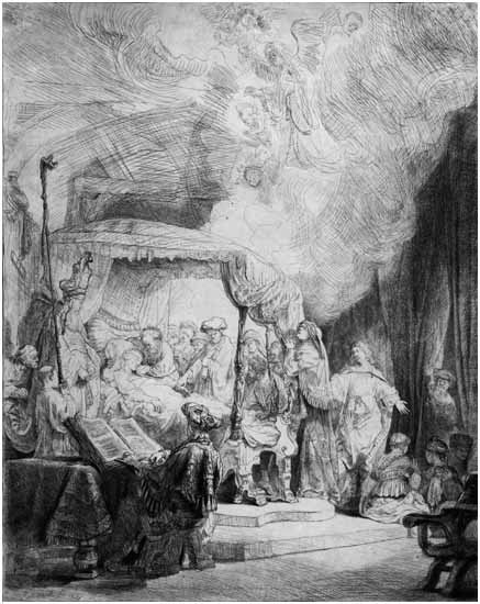 LOT 200 Rembrandt, The Death of the Virgin, 99 iii/iii, Etching with Drypoint, 15.25 x 12 inches