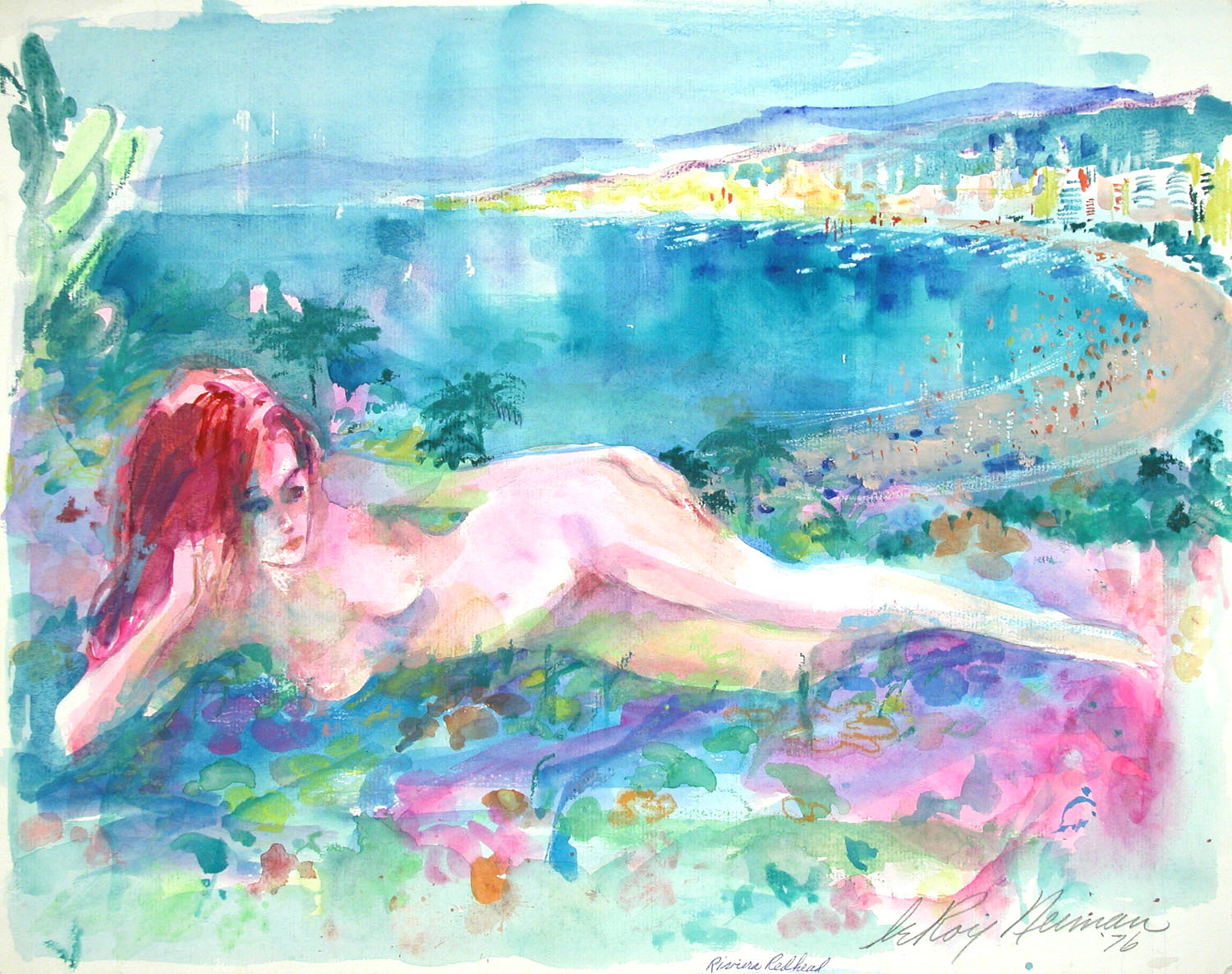 Riviera Redhead, mixed media on paper 15.75 x 20 in., 1976