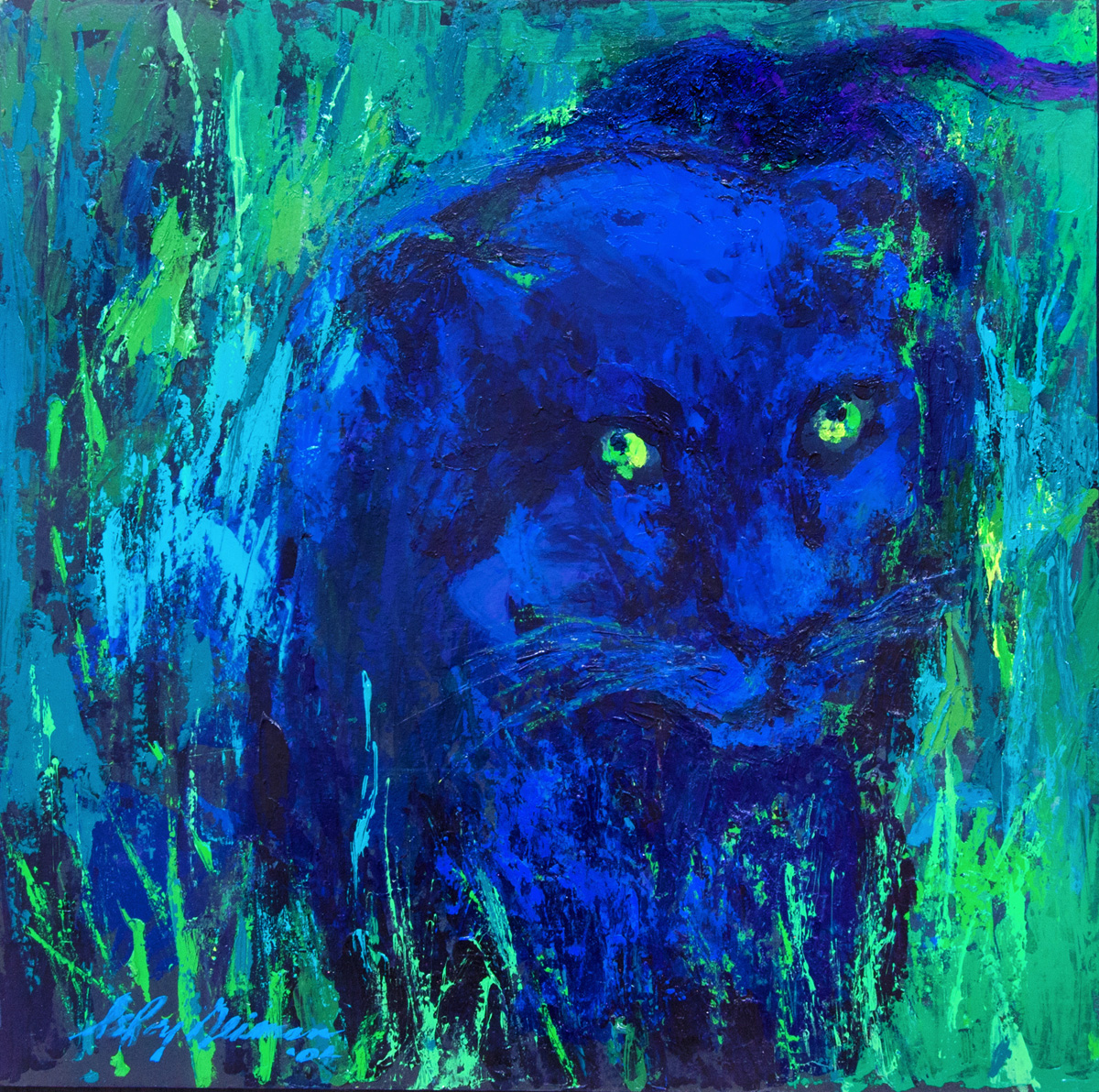 Portrait of the Black Panther, acrylic and enamel on board, 20 x 20.5 in., 2001