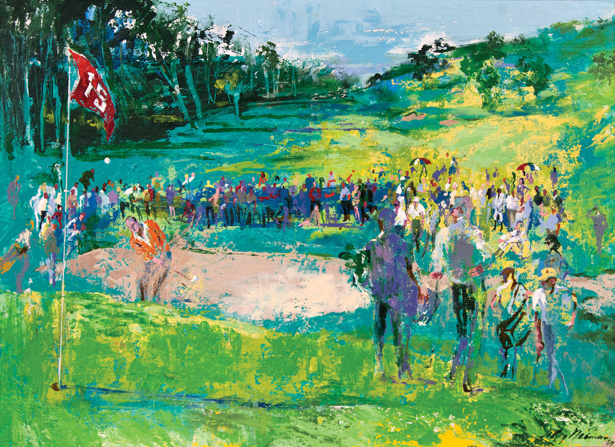 15th Hole, acrylic and enamel on board, 22 x 30 in., 1969