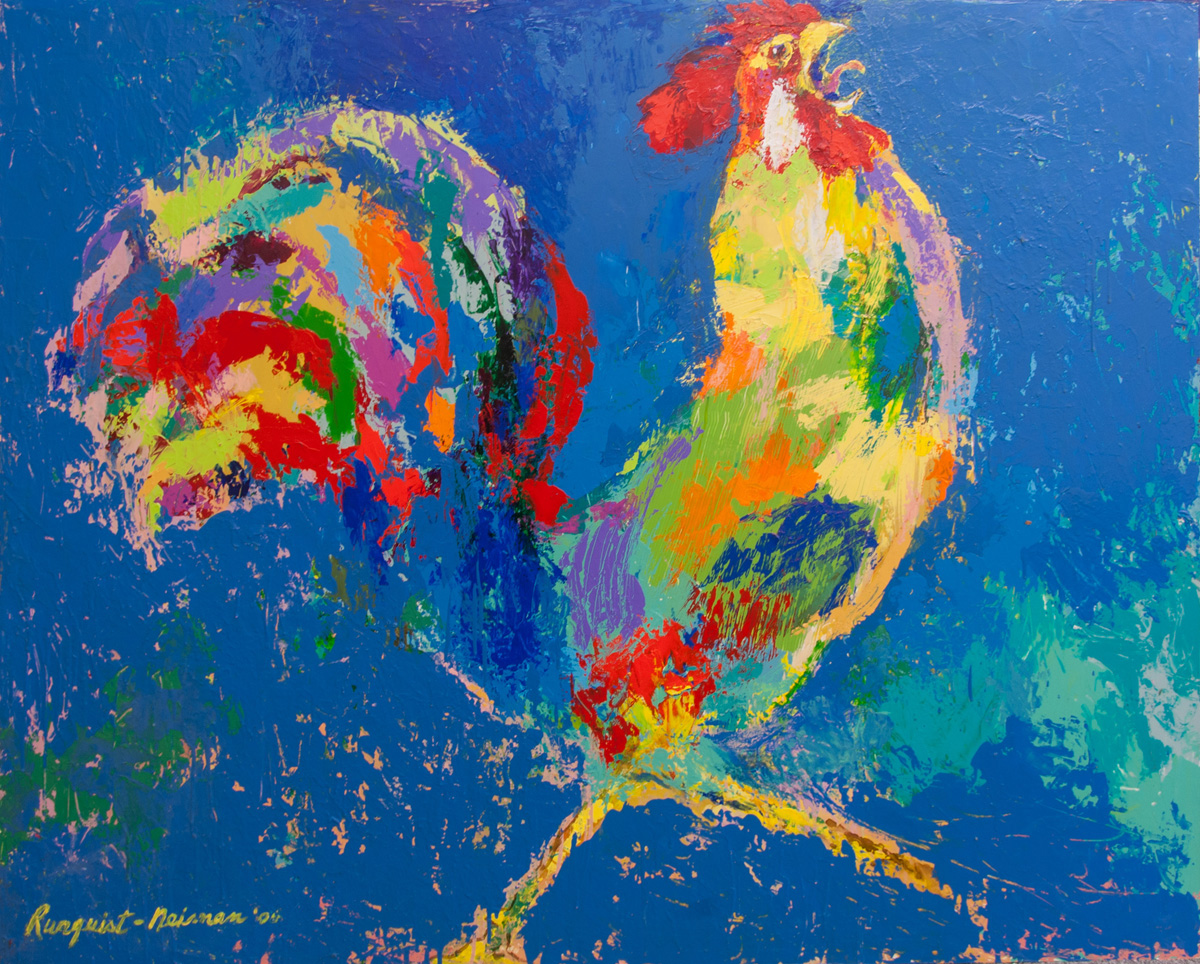 Rooster, acrylic and enamel on board, 48 x 60 in., 2006