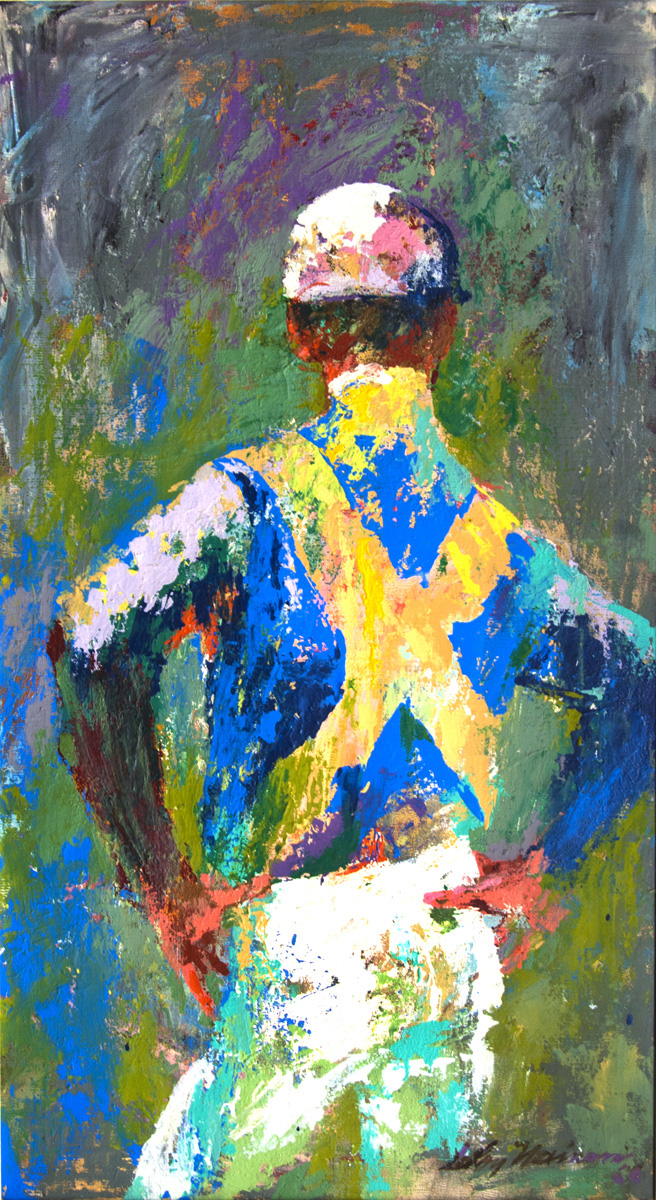 SOLD Resting Jockey (Back ), acrylic and enamel on board, 34 x 19 in., 1960
