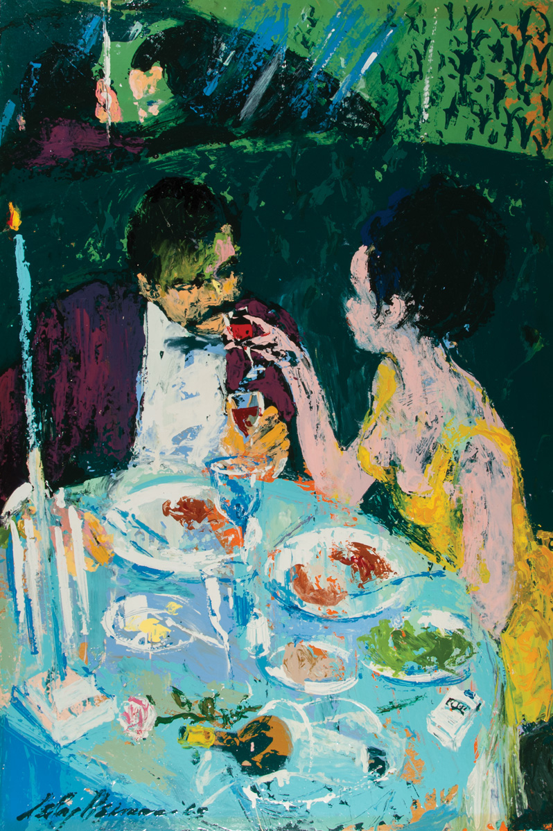 Couple in Booth, acrylic and enamel on board, 24 x 36 in., 1965