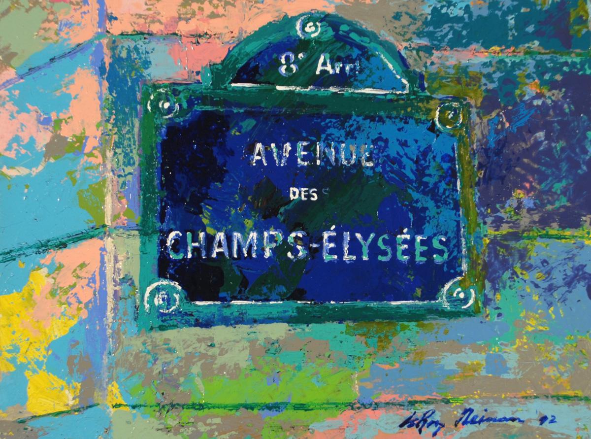 Avenue de Champs-Elysées, acrylic and enamel on board, 8 x 10.8 in., 1992