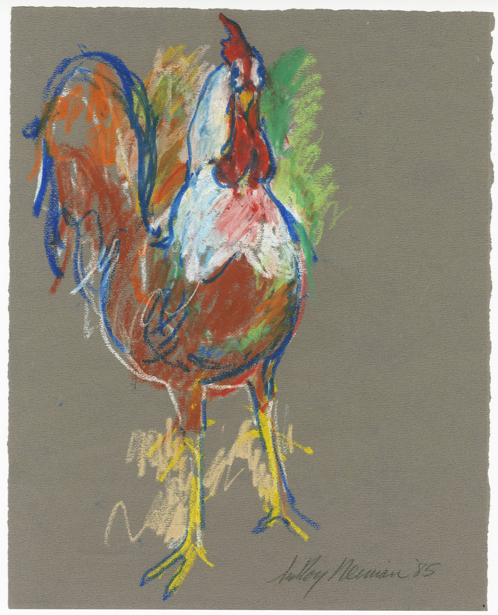 SOLD Rooster, mixed media on paper, 11 5/8 x 9 3/8 in., 1985