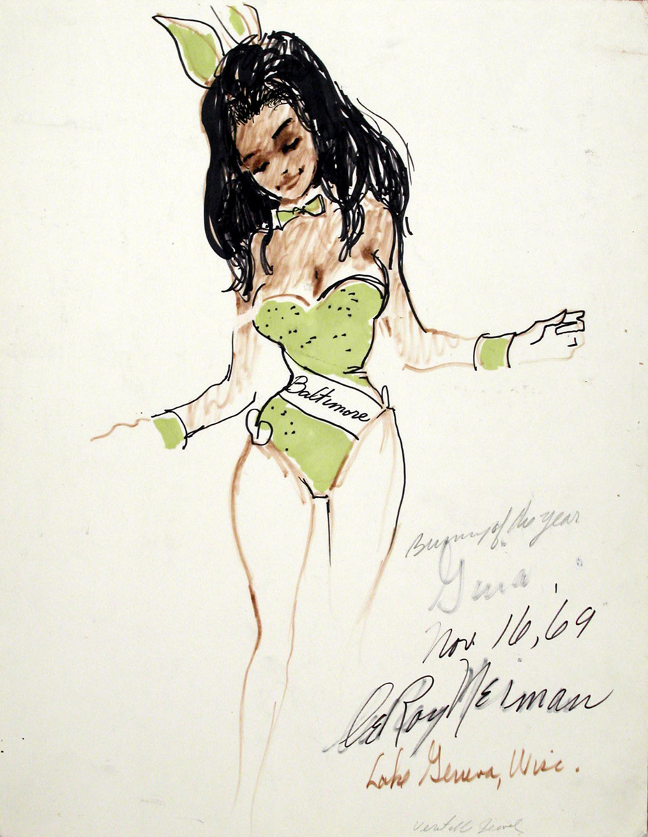 Gina, Bunny of the Year, mixed media on paper, 15 1/4 x 12 3/4 in., 1969