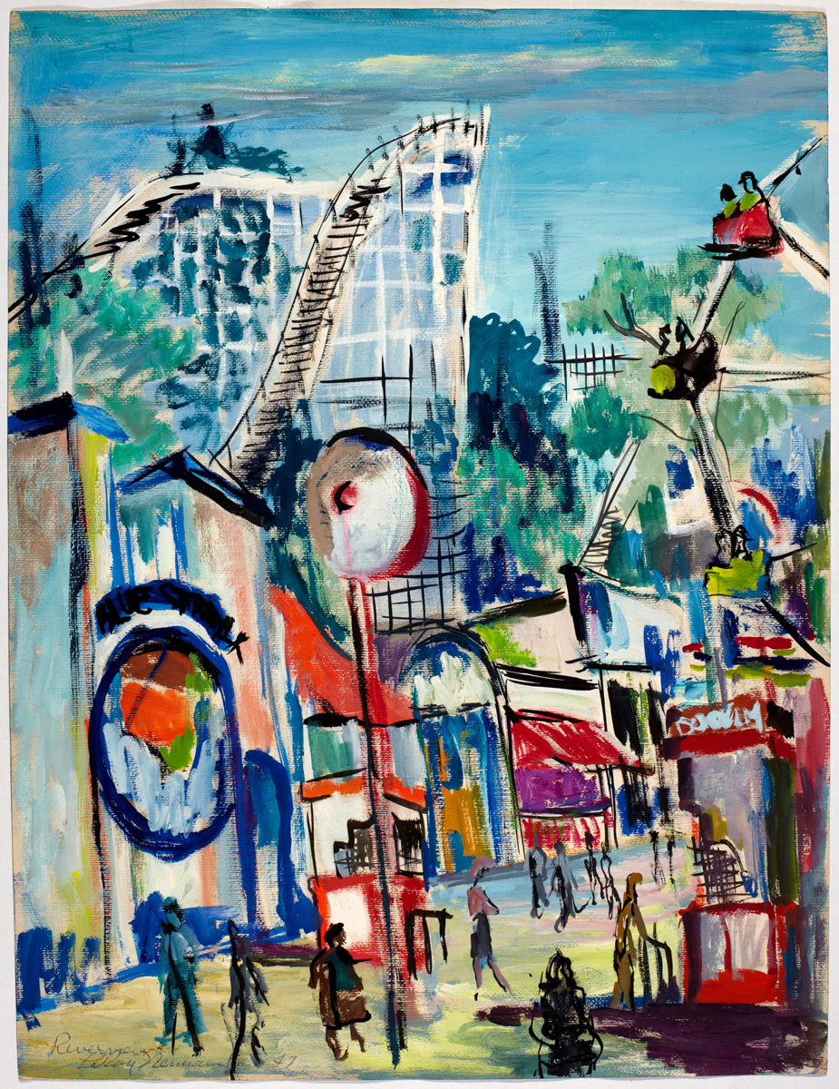 SOLD Riverview Park, mixed media on paper, 25 x 19 in., 1947