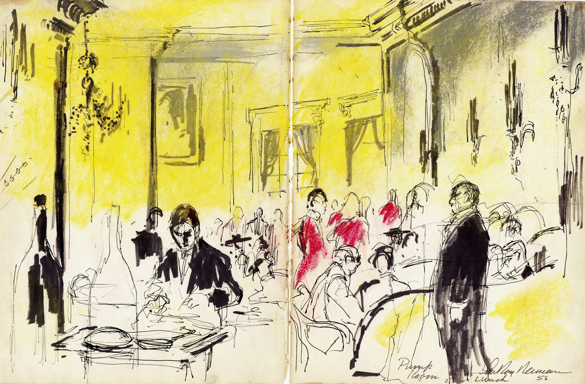 SOLD Pump Room Lunch, mixed media on paper, 10.5 x 16.5 in., 1953