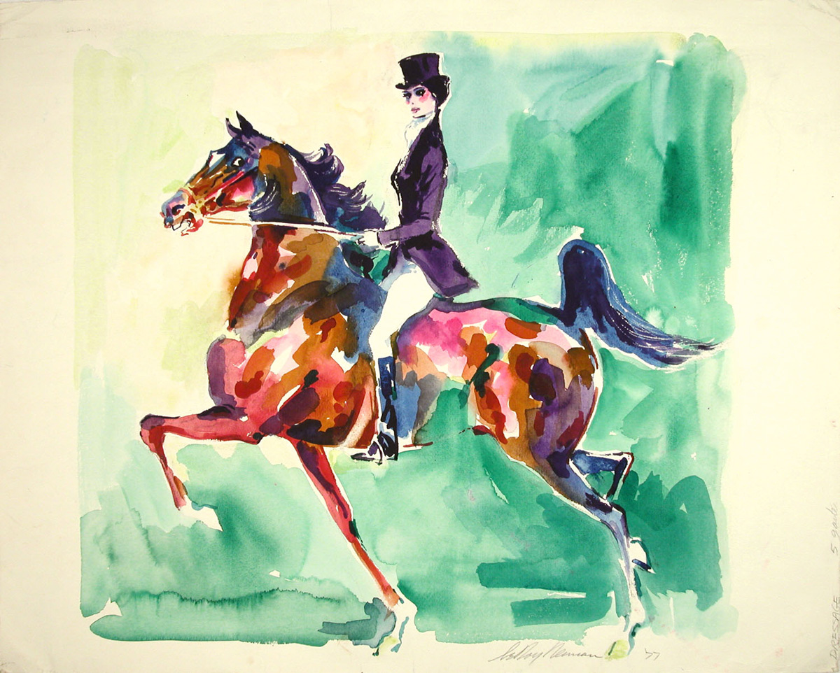 SOLD Lady Rider, mixed media on paper, 19 3/8 x 24 in., 1977
