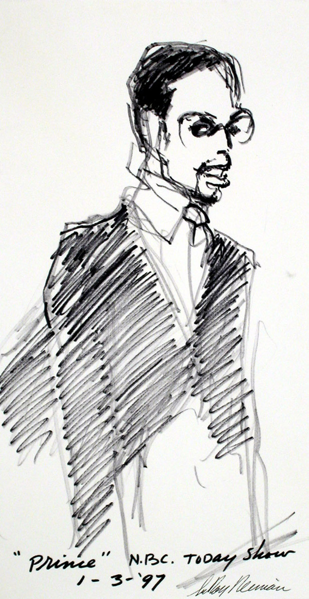 Prince on the Today Show, mixed media on paper, 13 1/2 x 7 1/4 in., 1997