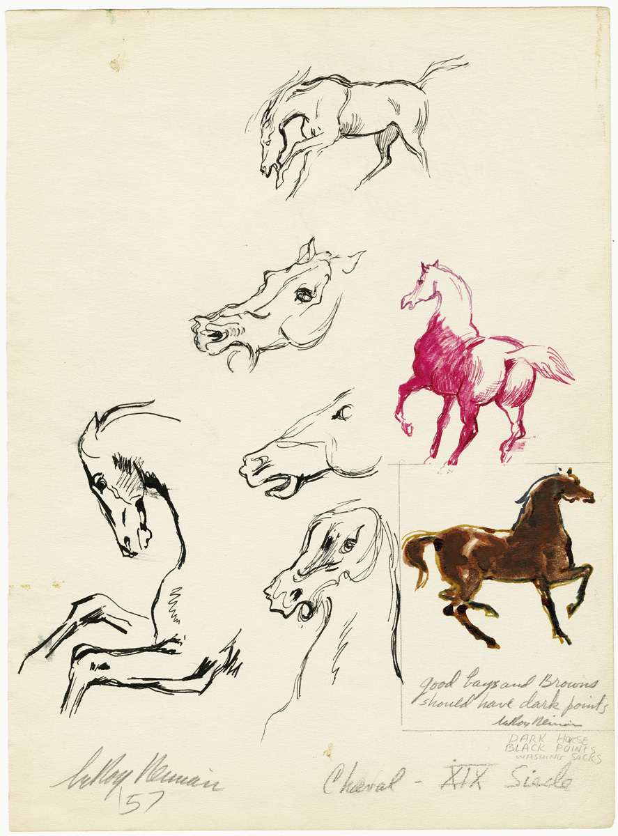 Cheval, mixed media on paper, 11 x 8 1/8 in., 1957