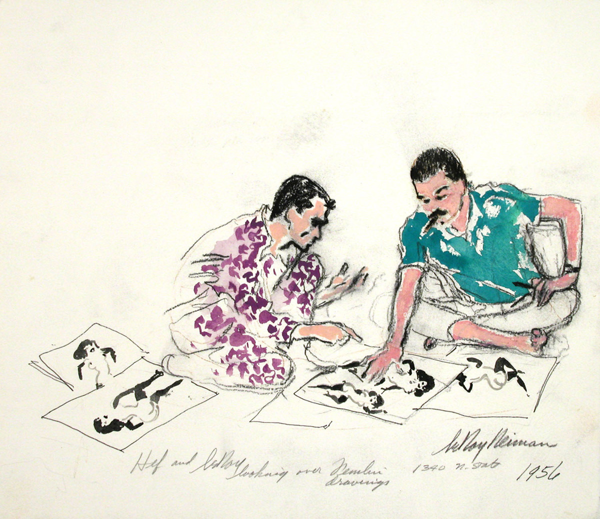 SOLD Hef and LeRoy looking at Femlin Drawings, mixed media on paper, 13 x 15 in., 1956