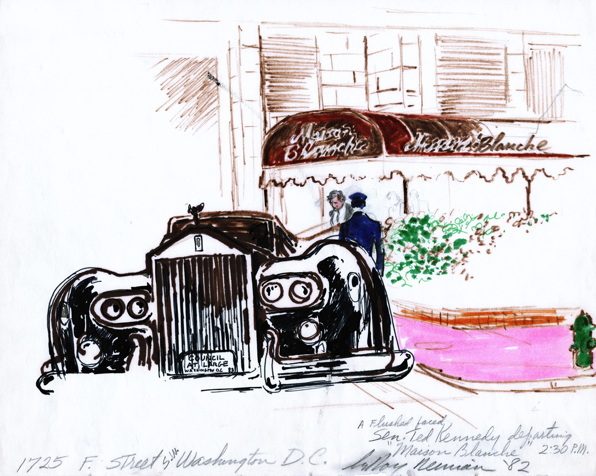 Ted Kennedy departing Maison Blanche in DC, mixed media on paper, 10 7/8 x 13.5 in., 1982
