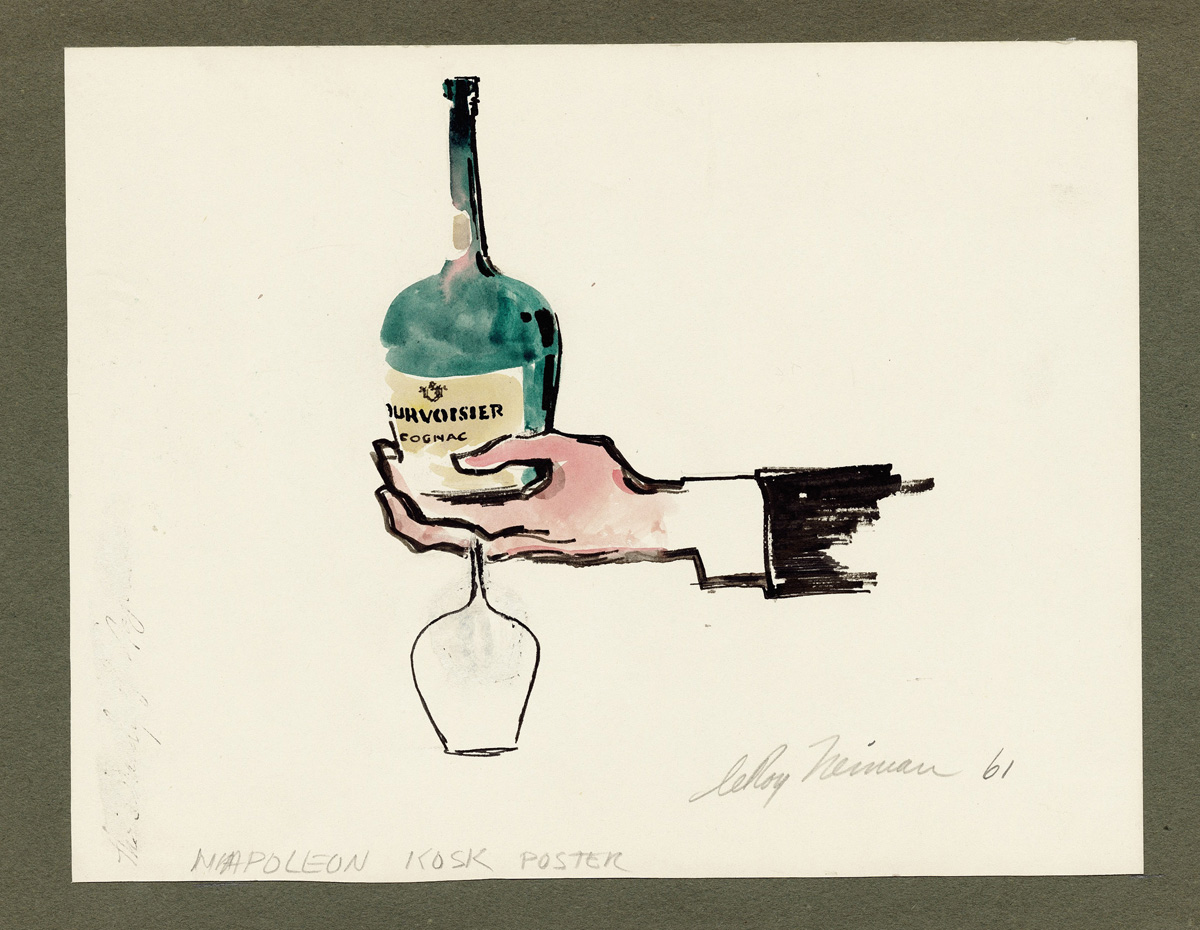 SOLD Courvoisier, mixed media on paper, 83/4 X 11 1/2 in., 1961