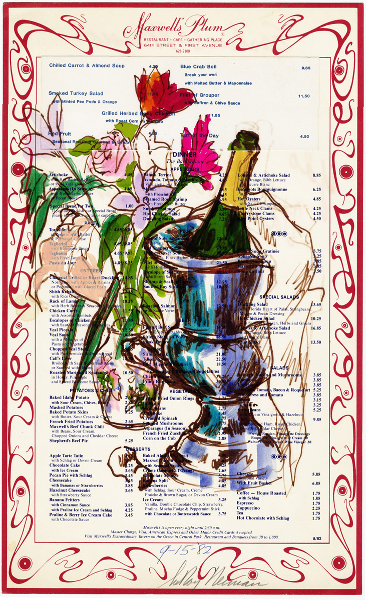 SOLD Maxwell's Plum: Wine and Flowers, mixed media on menu 18 x 11 in., 1982
