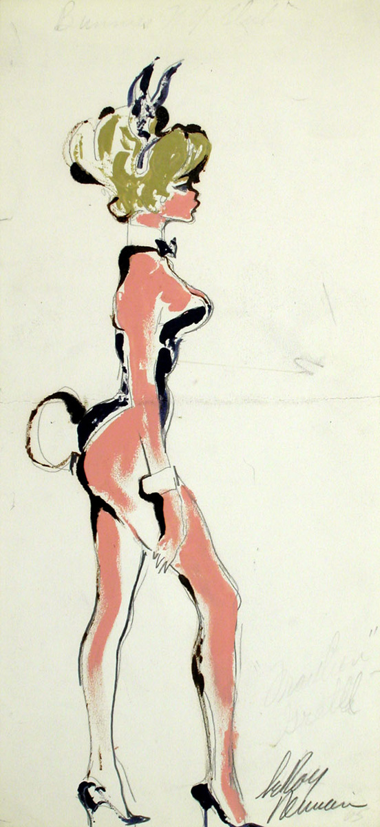 SOLD Blonde Bunny, mixed media on paper, 13 7/8 x 6 3/8 in., c. 1960