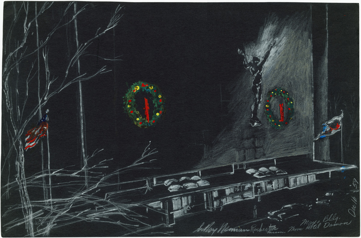 Rochester, Minnesota from Hotel Window, mixed media on paper, 12.5 x 19 in., 1959