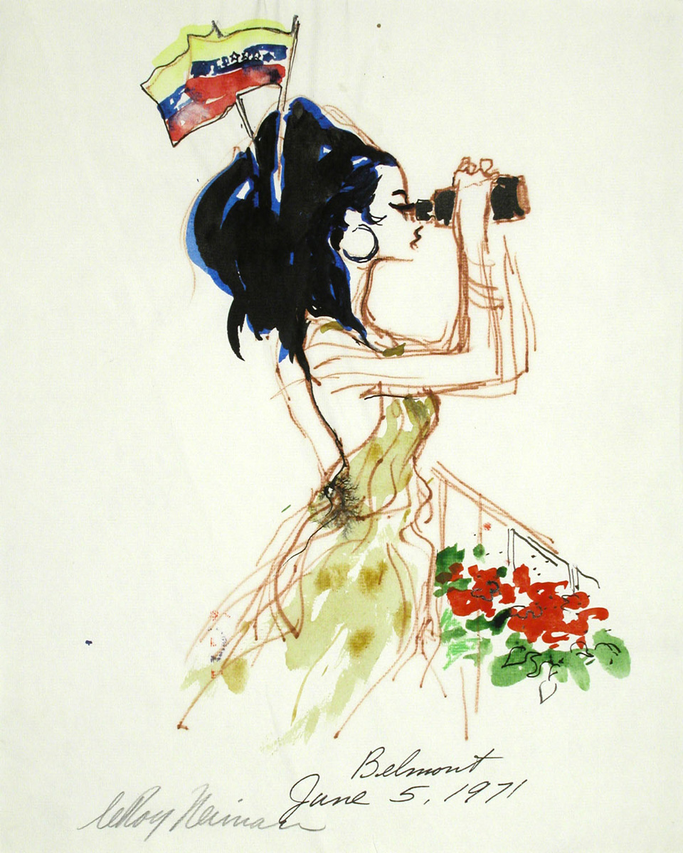 Belmont Spectator, mixed media on paper, 14 7/8 x 11 7/8 in., 1971
